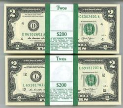 2 Gem Packs 100 Series 2013 $2 Bills in Sequence (D&L)