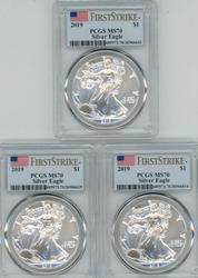 3 Perfect PCGS MS70 graded First Strike 2019 $1 Eagles