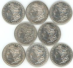 8 Diff. upper end Morgan Silver Dollars 1882 to 1900