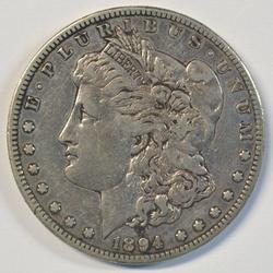 Sharp key date 1894-S Morgan Silver Dollar. Scarce