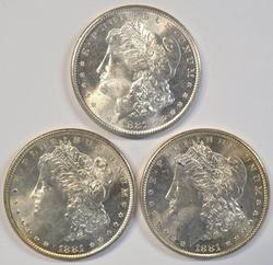 3 Flashy-white near Gem BU 1881-S Morgan Silver Dollars