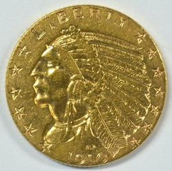 Very pretty 1910 US $5 Indian Gold Piece. Lustrous