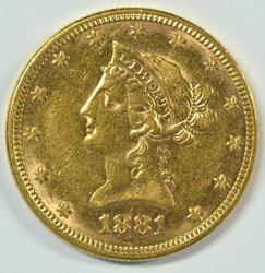 Fully struck 1881 US $10 Liberty Gold Piece. Nice