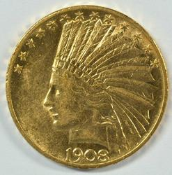 Super nice 1908 with Motto $10 Indian Gold Piece