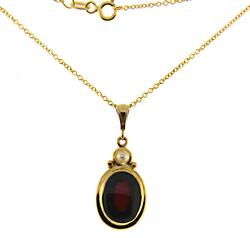Amazing Cab Garnet and Pearl Necklace