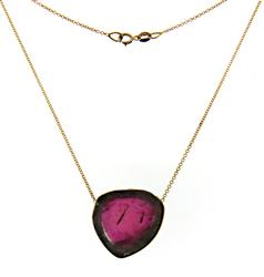 Great 18kt Tourmaline Slice Necklace