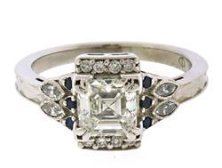 Charming 1.2ct Diamond Asscher in Sapphire Ring