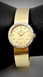 Modern 14K Ladie's Omega Diamond Watch
