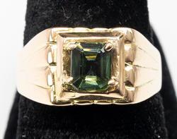 18KT Yellow Gold Mens Tourmaline Ring