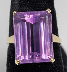 Huge Rectangle 12.57CT Amethyst in 14KT Yellow Gold