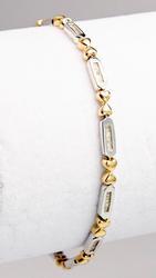 Elegant Baguette Diamond Two Tone Gold Bracelet