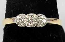 Sparkling Diamond Cluster Ring in 14KT Yellow Gold