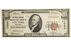 $10 1929 Series NewYork National Currency  Ch Near CU
