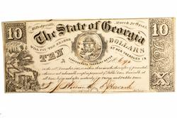 March 1  1865 $10 State of Georgia Note Unc