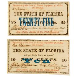 Florida 10 And 25 Cent Notes Feb 2 1863 Series