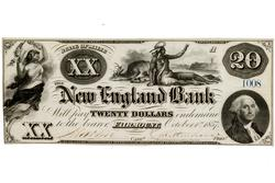 Bold 1857 Fairmount Maine New England Bank $20 Note