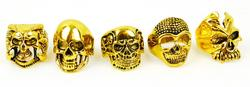 5 Gold Tone Figural Skull Rings, All Size 10