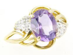 Vintage 10K Amethyst & Diamonds Ring, Size 6.75