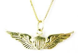 Ladies 14K Gold Air Force Pendant & Chain