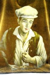1930's Handpainted Portrait on Velvet, Signed