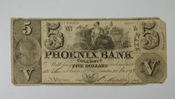 1843 $5.00 Phoenix Bank of Columbus Large Size Horseblanket Note