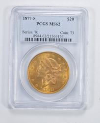 MS62 1877-S $20.00 Liberty Head Gold Double Eagle - PCGS Graded