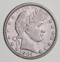 1904-O Barber Silver Quarter - Circulated