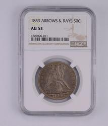 AU53 1853 Seated Liberty Half Dollar - Arrows & Rays - Graded by NGC