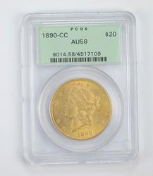 AU58 1890-CC $20.00 Liberty Head Gold Double Eagle - Graded by PCGS