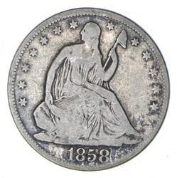 1858 Seated Liberty Silver Half Dollar - Circulated