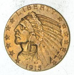 1915 $5.00 Indian Head Gold Half Eagle - Choice