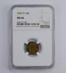 MS66 1947-D Roosevelt Dime - Toned - Graded NGC