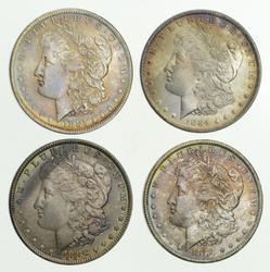 Lot (4) 1884-O 1885-O & 1886 Morgan Silver Dollars - Toned Choice Unc