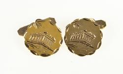 14K Yellow Gold Etched Parthenon Ancient Landmark Scalloped Cuff Links