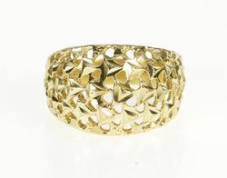 14K Yellow Gold Graduated Lattice Filigree Rounded Fashion Ring