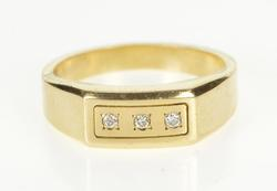 10K Yellow Gold Men's Diamond Squared Design Wedding Band Ring