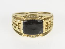 10K Yellow Gold Black Onyx Diamond Chain Design Fashion Ring