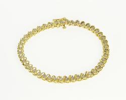 14K Yellow Gold 2.50 Ctw Diamond Inset Wavy Pattern Tennis Bracelet