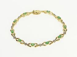 10K Yellow Gold 2.35 Ctw Oval Emerald Diamond Accent Ornate Bracelet