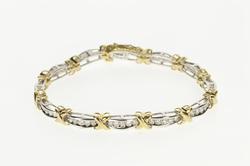 10K White Gold 1.80 Ctw Diamond Two Tone X Link Tennis Bracelet