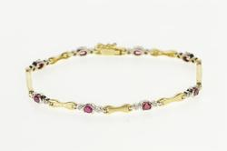 14K Yellow Gold Oval Ruby Diamond Retro 1960's Fashion Bracelet