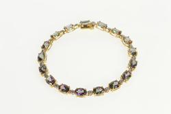 10K Yellow Gold Oval Mystic Topaz Diamond Accent Fashion Bracelet