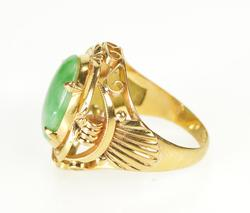 18K Yellow Gold Ornate Oval Jadeite Inset Retro Fashion Ring