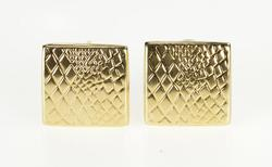 14K Yellow Gold Animal Print Reptile Skin Square French Back Earrings