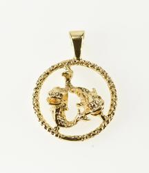 14K Yellow Gold Retro Pisces Astrological Zodiac Charm/Pendant