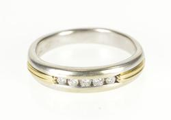 14K White Gold 0.15 Ctw Two Tone Diamond Men's Wedding Band Ring