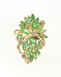 14K Yellow Gold 4.20 Ctw Marquise Emerald Diamond Cluster Dress Clip
