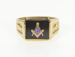10K Yellow Gold Masonic Symbol Black Onyx Inlay Men's Signet Ring