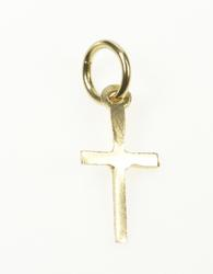 14K Yellow Gold Simple Classic Cross Christian Faith Charm/Pendant
