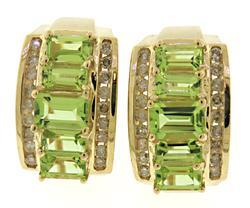 Pretty Peridot & RBC Diamond Huggie Earrings